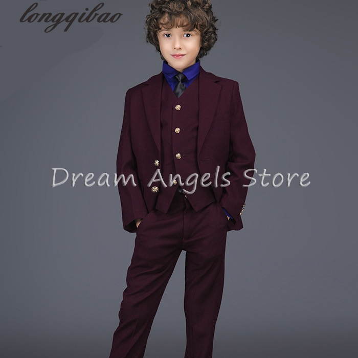 Fashion baby boys Wine red casual blazers jacket wedding suits for boy formal flower boy clothing kids prom suit child outfit high quality 2016 new arrival fashion baby boys kids blazers boy suit for weddings prom formal dark blue dress wedding boy suits
