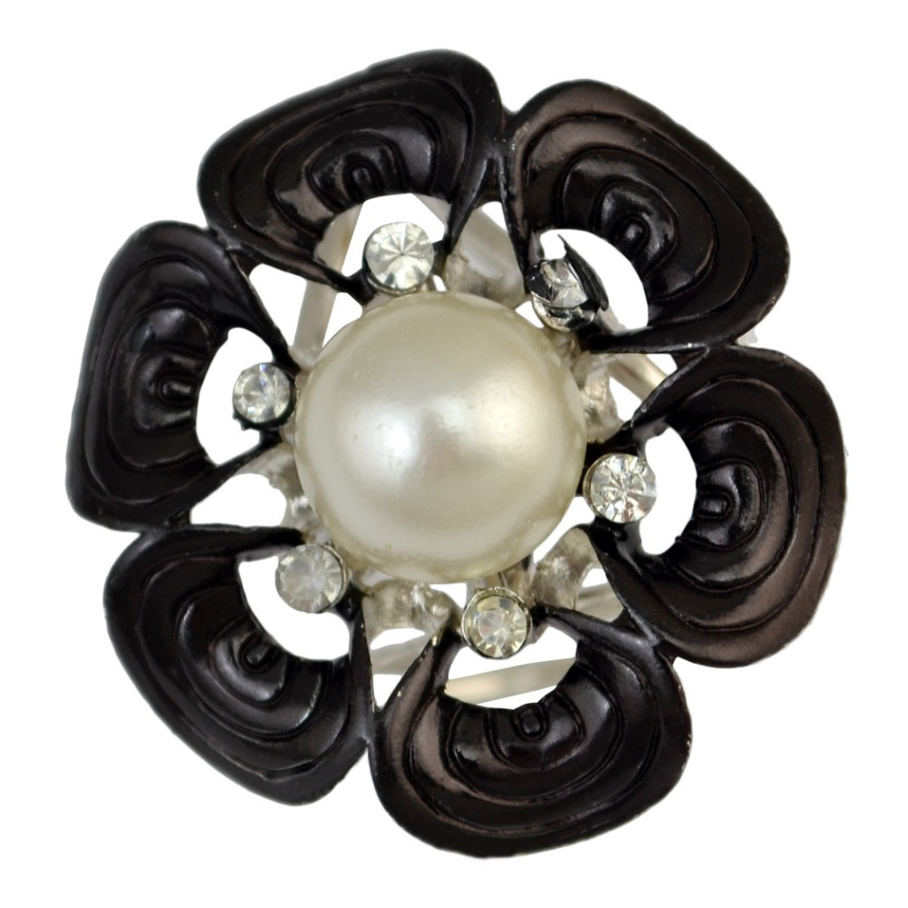 Idealway Belle 5 Couleurs Or Argent Alliage Stimulées Perle Cristal Forme  De Fleur Écharpe Boucle Broche Femmes   Fille Accessoire 5d4d8fb20f3
