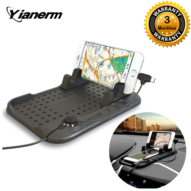 Yianerm Car Phone Holder Anti slip Silicone Pad Magnetic Charging Stand Base For iPhone Android Charging