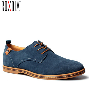 Image 1 - ROXDIA New Fashion Spring Summer Suede Men Flat Casual Shoes Flats Driver Footwear Breathable Lace Up Plus Size 39 48 RXM766