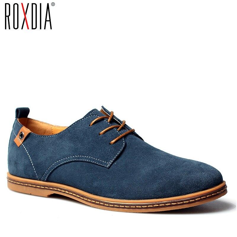 ROXDIA nouvelle mode Printemps Eté Daim Hommes Plat chaussures plates Pilote Chaussures Respirant à lacets grande taille 39-48 RXM766