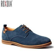 ROXDIA nowe mody wiosna lato zamszowe męskie codzienne buty mieszkania kierowcy obuwie oddychające zasznurować Plus rozmiar 39 48 RXM766