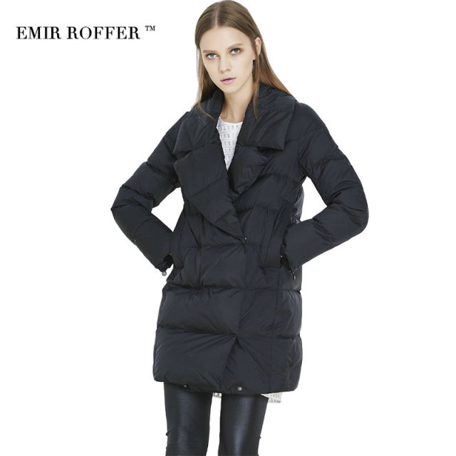 EMIR ROFFER Winter Women's down jacket Coat Female Turn Down Collar Solid Black Medium Long Parka Femme Outwear Large Size