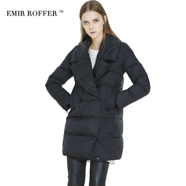 エミールroffer冬の女性のダウンジャケットコート女性ターンダウン襟固体黒ミディアム長いパーカーファム生き抜く大サイズ
