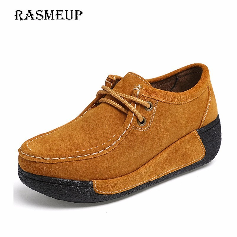 RASMEUP Genuine Suede Leather Women's Platform Flat Shoes 2018 Lace Up Platform Women Moccasins Creepers Woman Casual Sneakers rasmeup genuine suede leather women s oxford shoes 2018 spring women lace up flat sneakers woman boat flats moccasins shoes