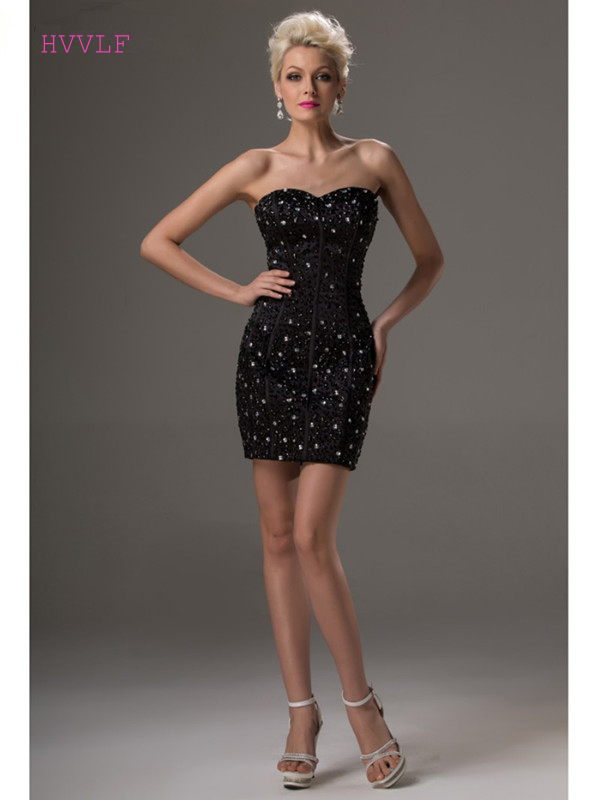 Black 2019 Elegant   Cocktail     Dresses   Sheath Sweetheart Short Mini Beaded Crystals Sexy Plus Size Party Homecoming   Dresses
