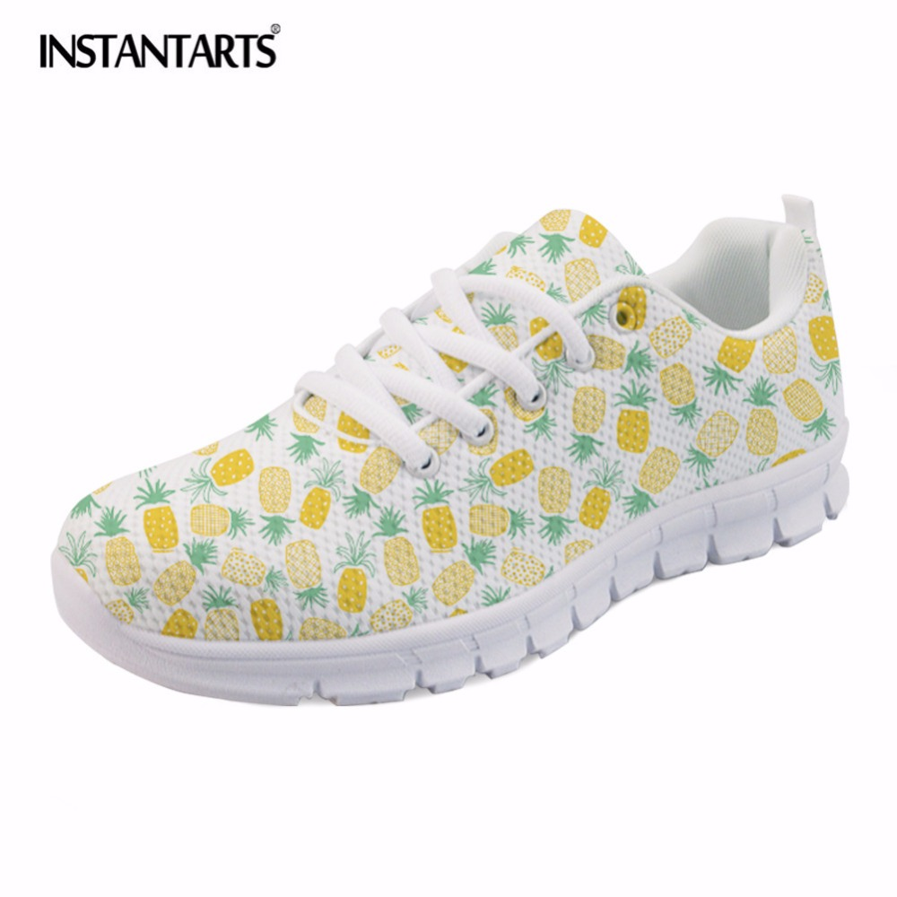 INSTANTARTS Pineapple Fruit Print Women's Flat Shoes Fashion Lace Up Sneakers Female Breathable Air Mesh Walking Shoes Girls instantarts cute animal husky cat head print women fashion flats shoes air mesh sneakers for ladies lace up light weight shoes