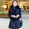 Hot sale 2016 New Women Winter Real Fur Jacket With Raccoon Fur Collar Genuin Rabbit Fur Coats Fashion Slim Outwear