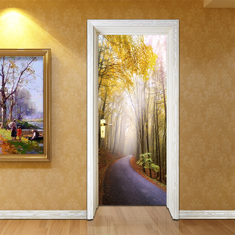 Master Bedroom Wallpaper Bedroom Door Closed During Fire Bedroom Tv Cabinet Design Baby Bedroom Decor: 3D Effec Art Doors Sticker Forest Path Scenery Oil