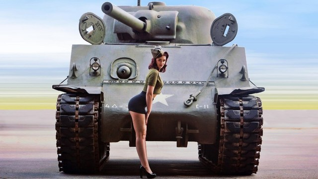 US $11 98 |Living room bedroom home wall decoration fabric poster sexy  pinup models beautiful ass thigh World War II women M4 Sherman tank-in  Painting