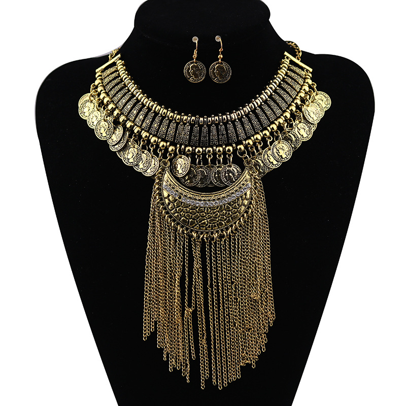2017 New Bohemia Fashion necklace Earrings Set jewelry sets wholesale National wind Bronze Coin Tassel earring necklace set