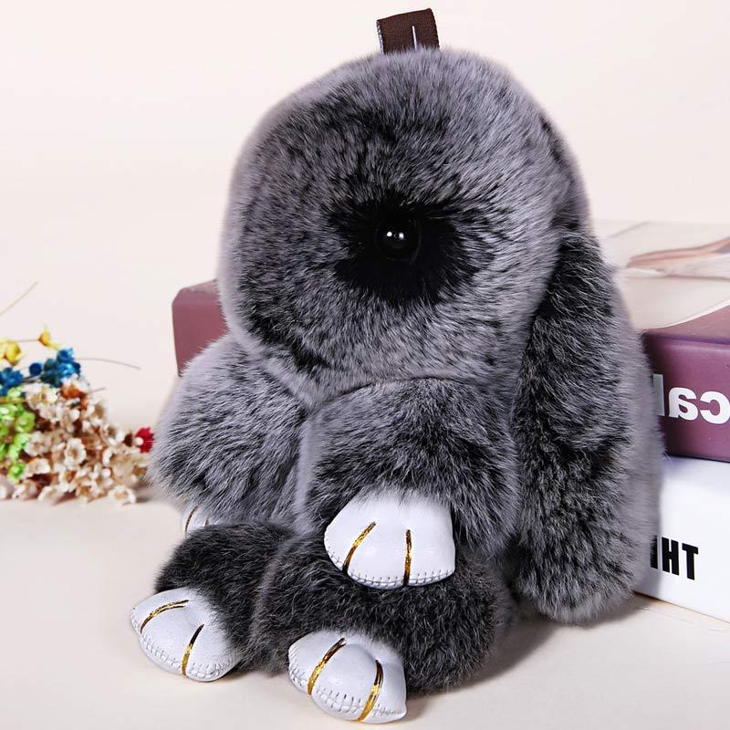 18cm Rabbit Keychain 2017 Fashion Bunny Keychain pendant Bag Car Charm Key Ring Tag Cute Rabbit Toy Doll 18cm super cute fluffy bunny bag pendant lovely play dead rabbit animal toy keychain car decor