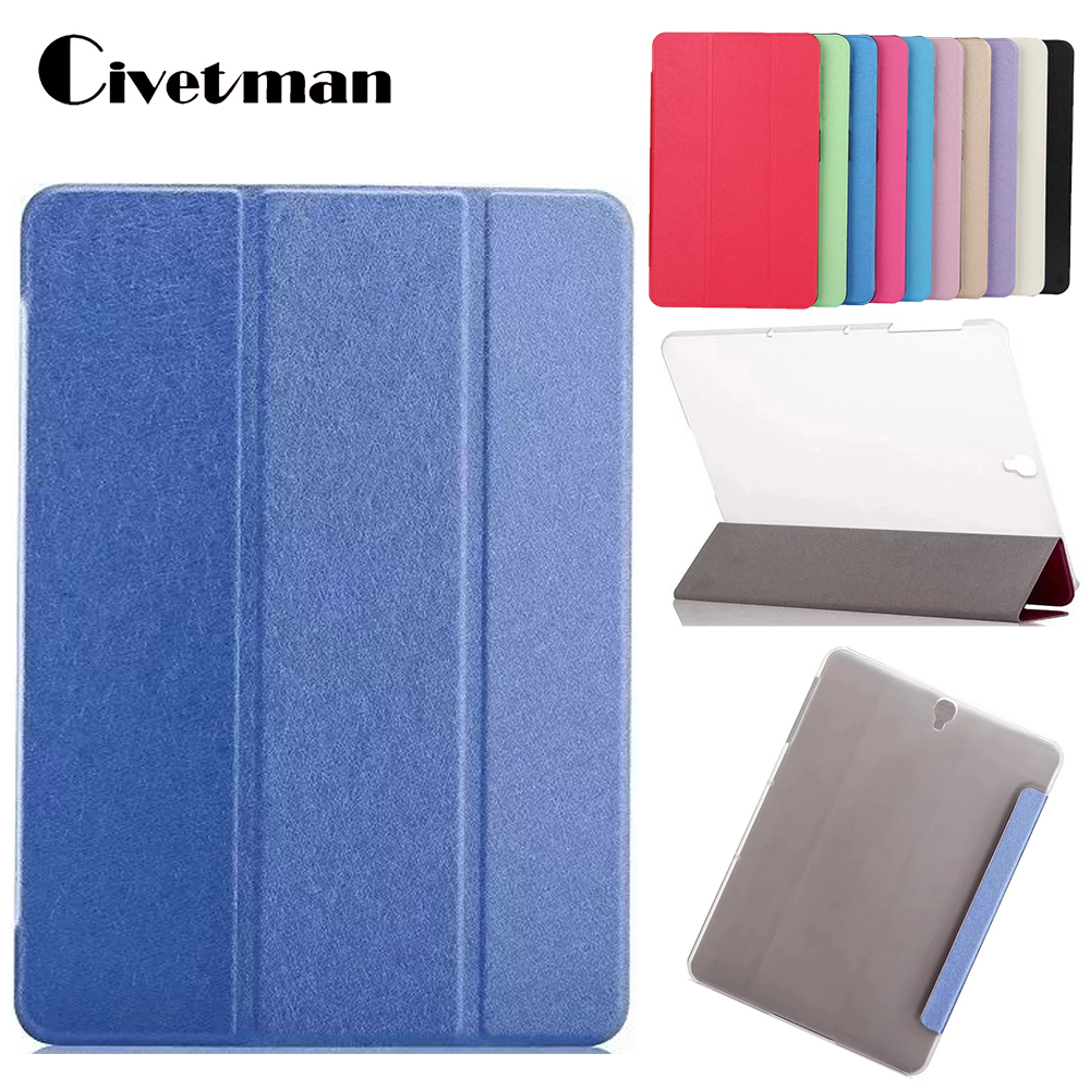 For Samsung Galaxy Tab S3 Case Ultra Slim PU Leather Skin Magnetic Solid Folding Cover For Galaxy Tab S3 9.7 SM-T820 T825 планшет samsung galaxy tab s3 9 7 sm t820 wi fi 32gb черный