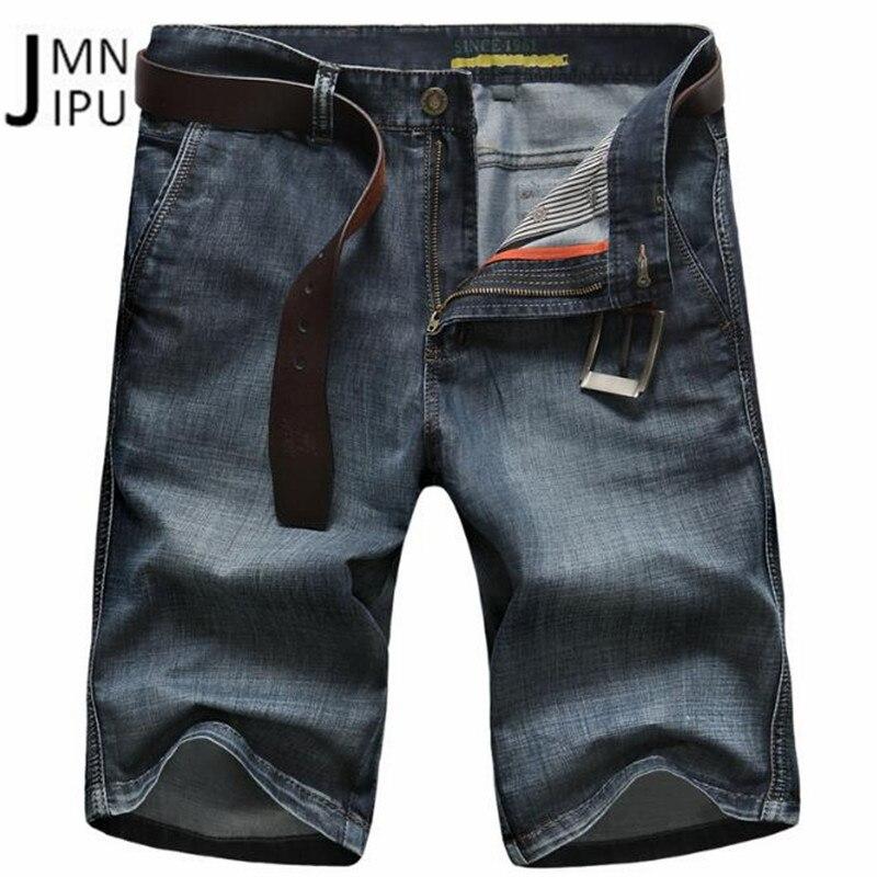 JI PU Black Color 2018 Mid Waist Mans Pockets Half Length Jeans,Back Pockets Water Washed Cargo Loose Knee Length Denim Trouser