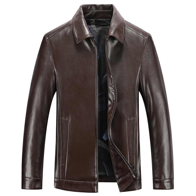 春と秋品質メンズ本革ジャケットビジネスカジュアル羊皮折りコート黒人男性バイカーレザージャケット