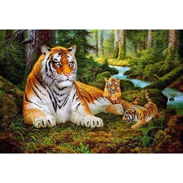 sans cadre tigres famille animaux peinture diy par les kits de nombres acrylique dessin peinture. Black Bedroom Furniture Sets. Home Design Ideas