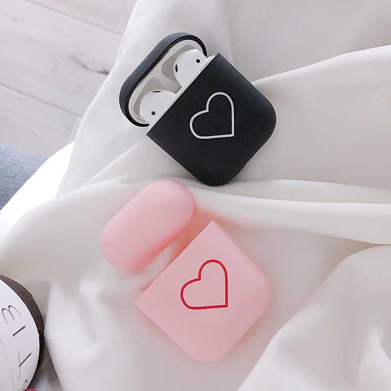 Moda słodkie serce pary przypadku dla przypadku Airpods twardy PC bezprzewodowa Bluetooth etui na słuchawki pokrywa dla Air Pods słuchawki akcesoria