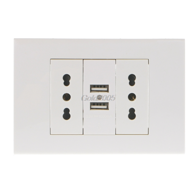 все цены на 16A Wall Double Italian/Chile Plug Power Socket Adapter Dual USB Ports Panel 5V 1A G07 Drop ship онлайн
