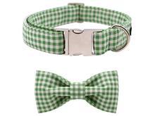 Green Plaid Bow Tie Dog Collar & Leash Set