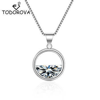 Todorova Seem a Lake Round Crystal Water Spring Pendant Necklace for Women Semicircle Cubic Zirconia Necklace Jewelry image