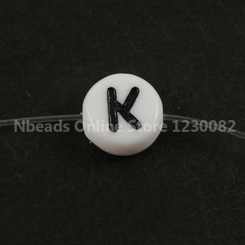 100pcs Flat Round Acrylic Beads Letter K L M N O P Q R S T U V W X Y Z,white & Black,about 7mm In Diameter,4mm Thick,hole: 1mm