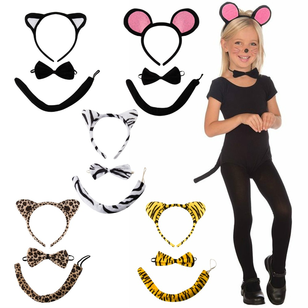 Girls Kids Costume Headband Sets Cat Ear Tail Alice Band Party Hairband Cosplay Accessories Cute Lovely Children Girls Headwear