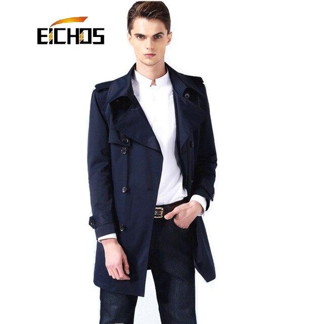 2016 New Brand Mens Slim Trench Coat Fashion Lapel Men Long Coat Slim Fit Men's Windbreaker With Belt Spring Autumn Overcoat Men