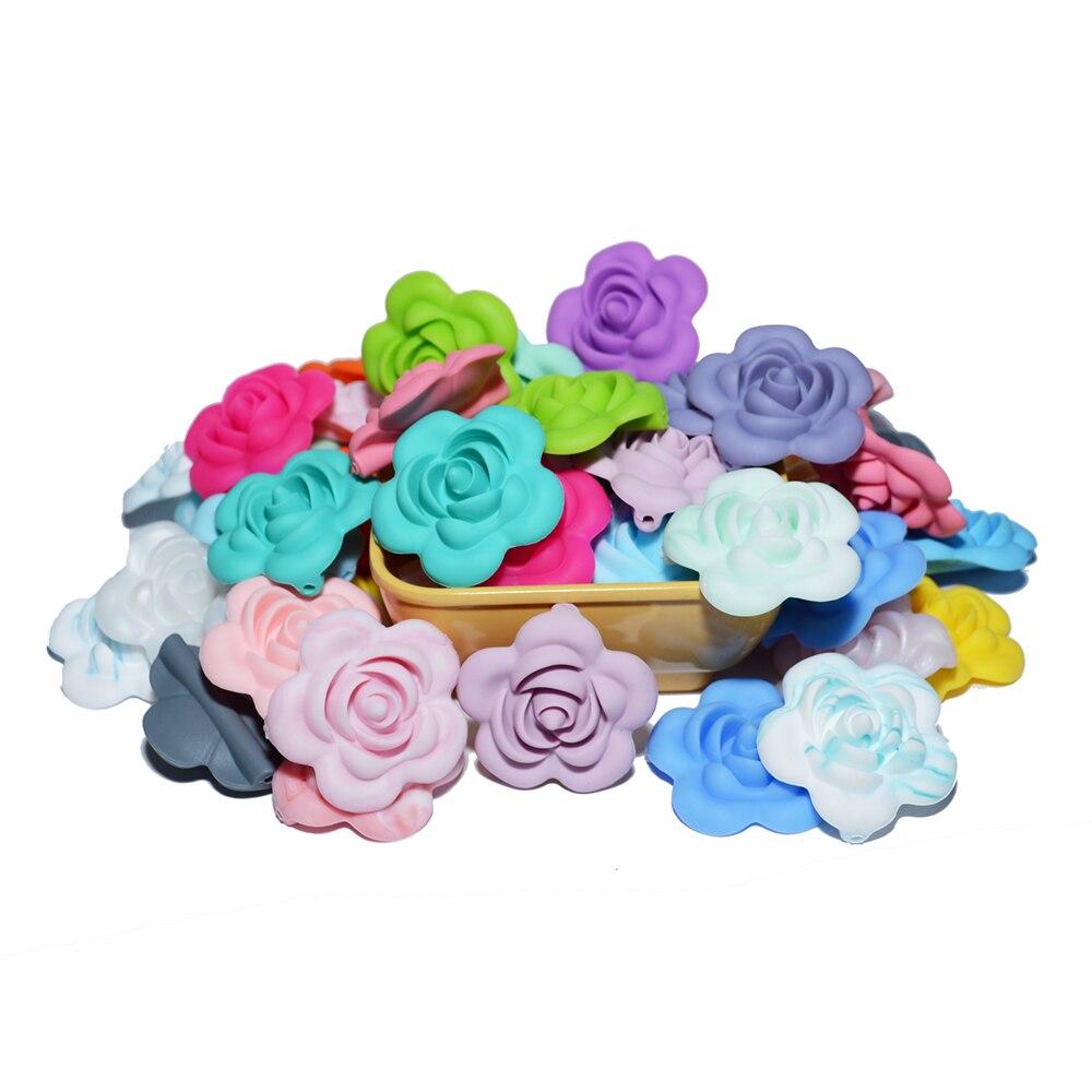 Happyfriends 10 pçs silicone rosa contas bpa livre bebê dentição contas forma de flor do bebê mordedores para o bebê dentição colar fazendo
