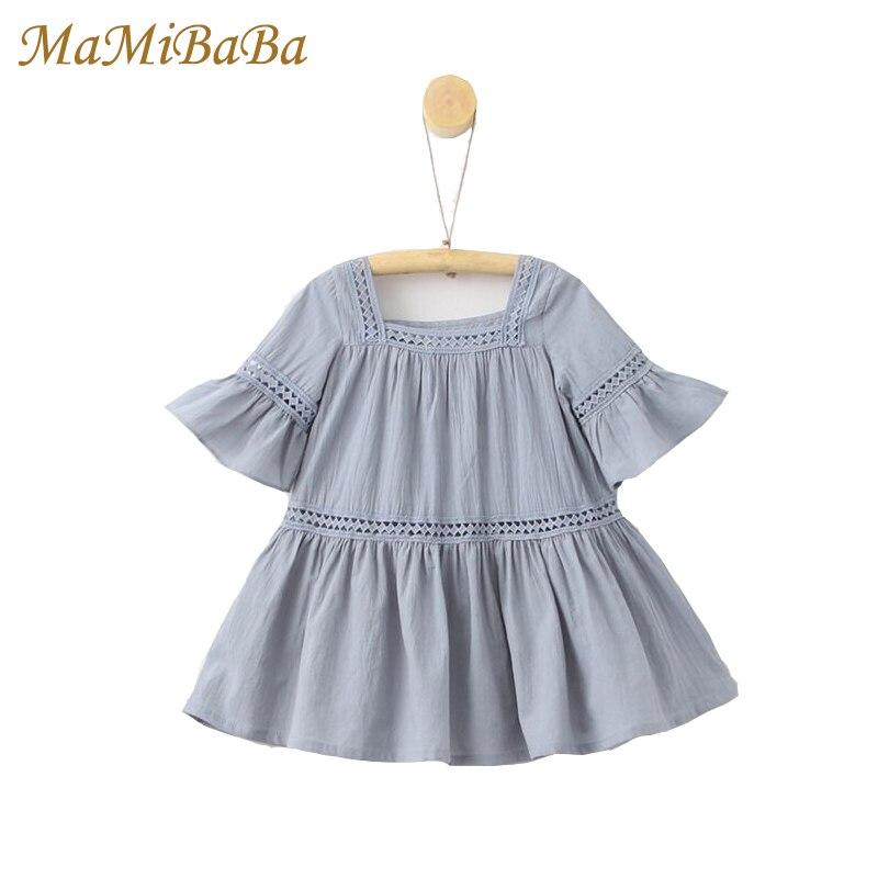 Enfants Fille Robes 2018 New Summer Casual Solides Courtes En Coton Manches Genou-longueur Belles Robes Pour Enfants Filles Vêtements Ds470
