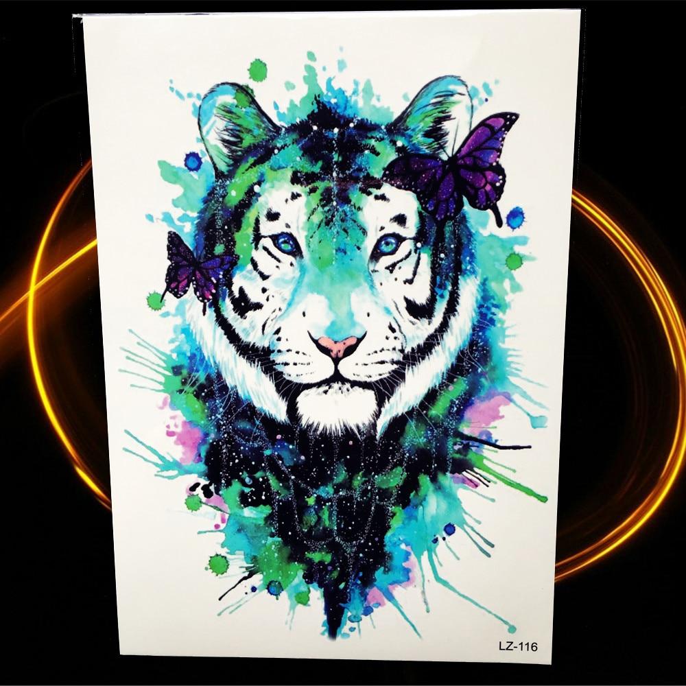 vert d 39 encre d 39 eau couleur tigre tatouage temporaire pour. Black Bedroom Furniture Sets. Home Design Ideas