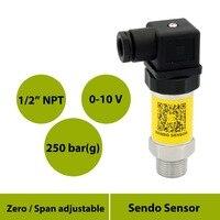 Transmissor 0 a 10v do sensor de pressão  sinal análogo  pressão 0 a 250bar  calibre 0 25mpa  fonte de 15 v  1 2 na conexão masculina do npt|Transmissores de pressão| |  -