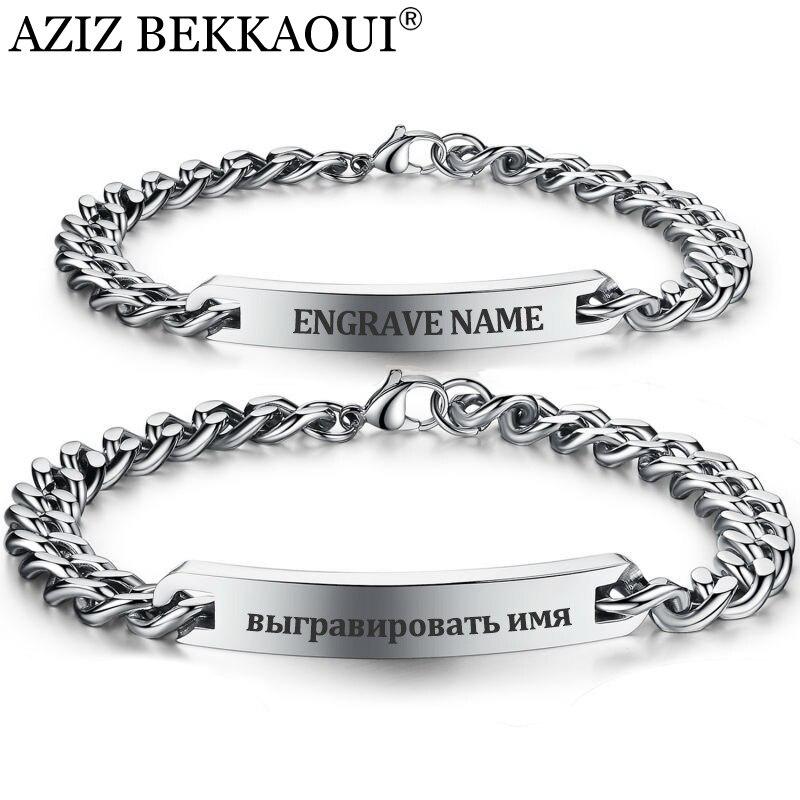 Aliexpress Com Customize Name Bracelet 316 Stainless Steel Id Bangles Personalized Custom Logo Men Jewelry Letters Bracelets For Women From