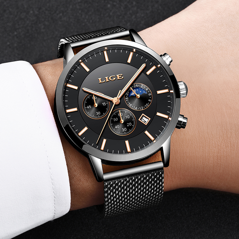 Mens Watches LIGE Top Brand Luxury Chronograph Ultra Thin Date Clock Male Steel Strap Casual Quartz Watch Men Sports Wrist Watch lige men s watches new luxury brand watch men fashion sports quartz watch stainless steel mesh strap ultra thin dial date clock