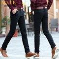 Марка брюки Slim fit осень зима новые формальные брюки случайные мужские брюки стрейч плюс толстые толстые прямые качество брюки черный синий