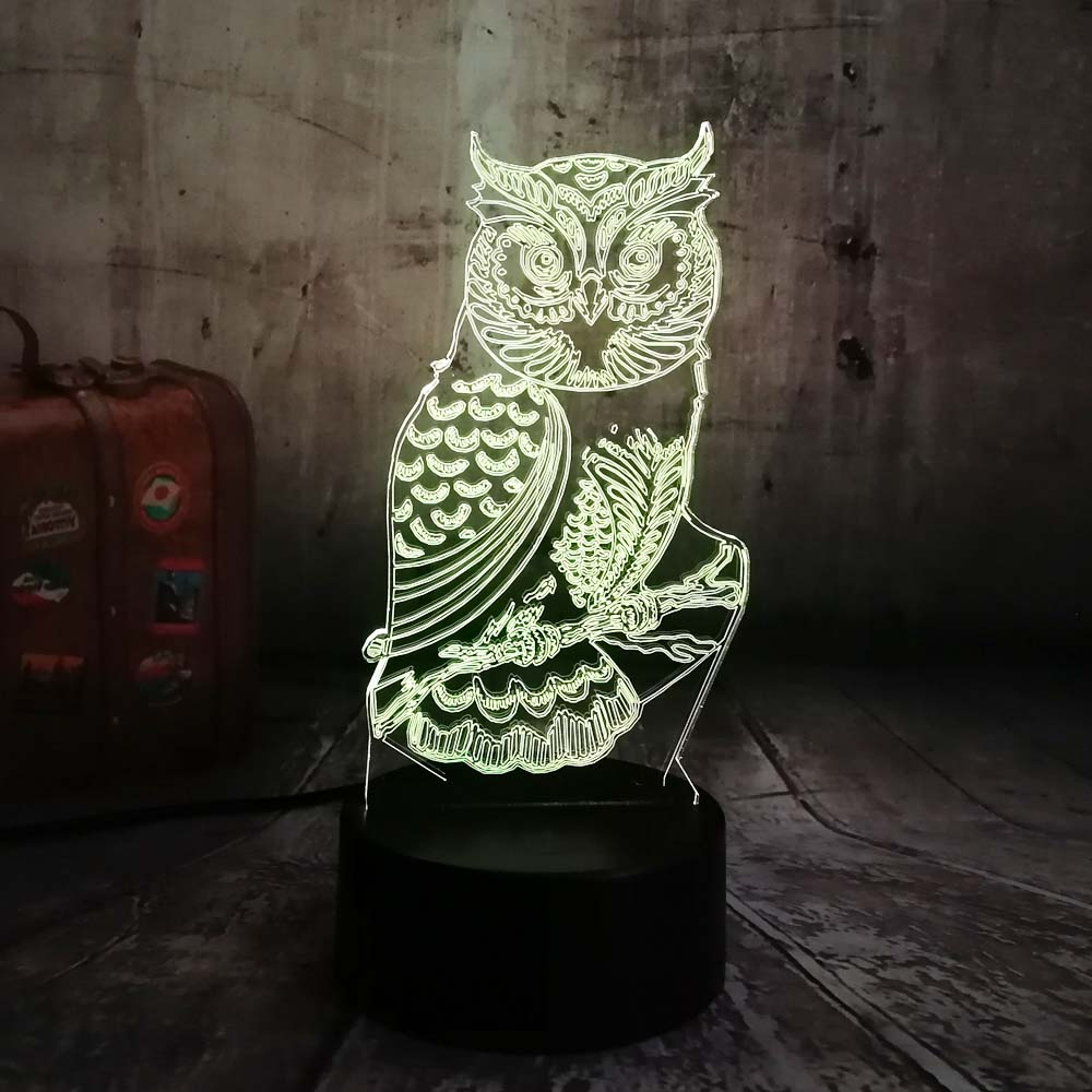 Novelty 3D Owl LED Night Light 7 Color Change Desk Table Lamp Home Bedroom Decor Child Kids Baby Sleeping Xmas Festival Gifts