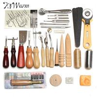 KiWarm 37 Pcs Leather Craft Tools Kit Hand Sewing Stitching Punch Carving Work Saddle Leathercraft Accessories For Personalizing