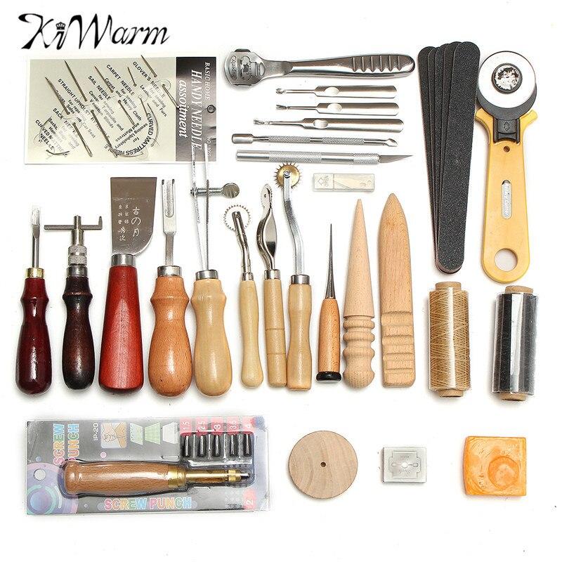 KiWarm 37 pcs Kit de Ferramentas De Artesanato de Couro De Costura À Mão Costura Soco Escultura Trabalho Leathercraft Sela Acessórios Para Personalizar
