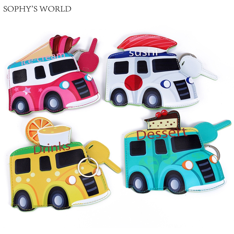 2017  Ice cream Bus Cartoon Coin Purse Cute Mini Coin Pouch For Girls Keychain Kawaii Purse Leather Wallet Bank Card Holder