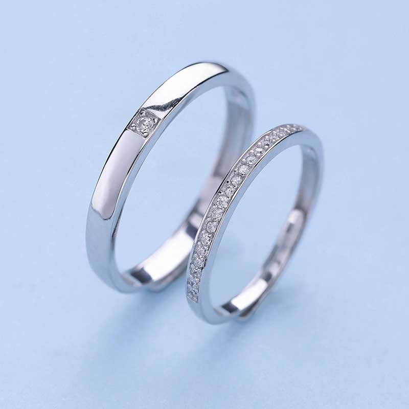 Qingmos Lovers Gift 1 pair (#10 and #6) Lovers Couple Rings with Crystal Sterling silver 925 Opening Adjustable Rings-rin32 grus b215 152mm 6 point guide scope rings pair