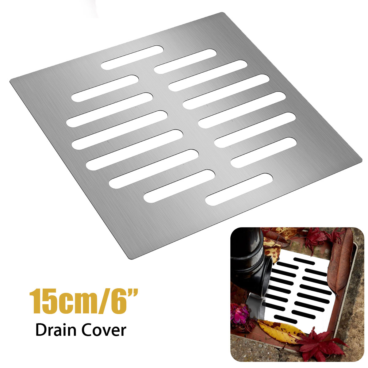 Xueqin Shower Drain Thick Stainless Steel Floor Drain Cover Strainer  Bathroom Bath Accessories Garden Drains Cover 15X15cm In Drains From Home  Improvement ...