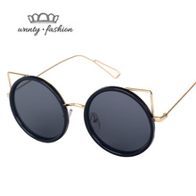 Wnnty Cat Round font b Frame b font Sunglasses for Women Metal Ultraligeras Sun font b