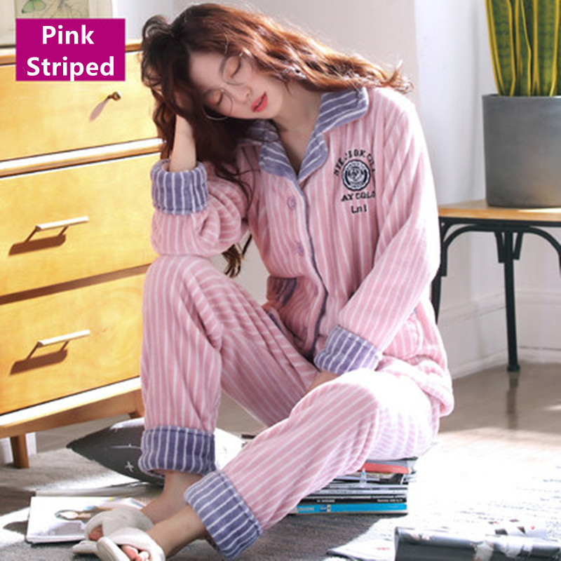 Pink Striped Plush   Pajamas   Polyester Full Trousers Lady Two Piece   Pajama     Set   Women Sleepwear Pjs
