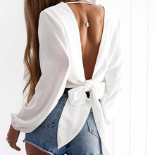 цена на Sexy V Neck Wrap Sheath Exposed Navel Short Top Bow Tie Autumn Shirts Chiffon Women Blouses 2018 Backless Red White Crop Tops