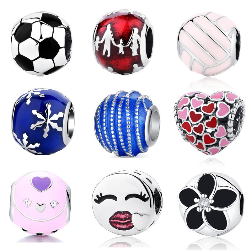 327669f2d Authentic 925 Sterling Silver Bead Charm Soccer Ball Football Enamel Beads  Fit Pandora Bracelets & Bangles Women DIY Jewelry