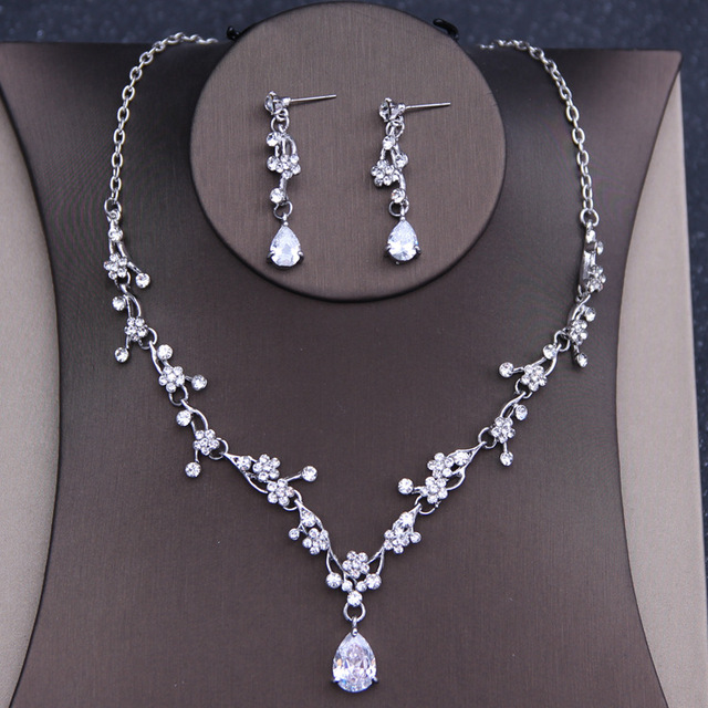 Dower me Shine Flower Wedding Prom Necklace Earrings Set