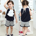 2016 Summer Laciness Girls Clothing Baby Child Girl Butterfly Sleeve T-Shirt Shorts Set
