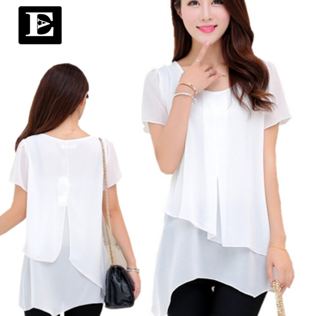 2016 summer style Chiffon White Blouse Short Fashion Tops  Blusas Femininas  Clothing large plus size women clothes XXXXL DT118