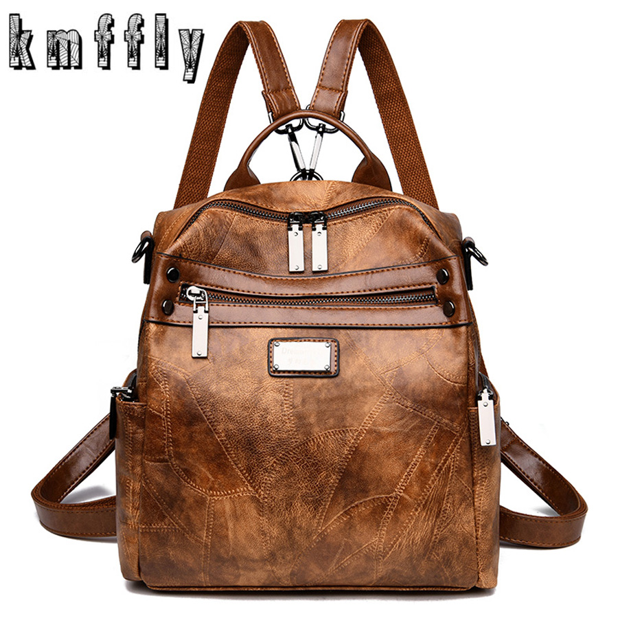 Multifunctional Vintage 3-in-1 Women Leather Backpacks Casual Female Shoulder Bag Sac A Dos Ladies Bagpack Mochilas School Bags