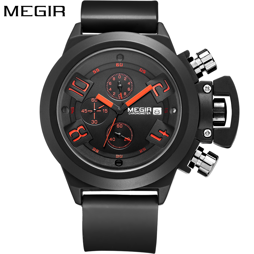 Megir Luxury Brand Sport Chronograph Fashion Casual Black Watch men Silicone Band Quartz Clock Wrist Watch For Men reloj hombre стоимость