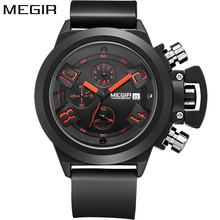 Megir Luxury Brand Sport Chronograph Fashion Casual Black Watch men Silicone Band Quartz Clock Wrist Watch For Men reloj hombre